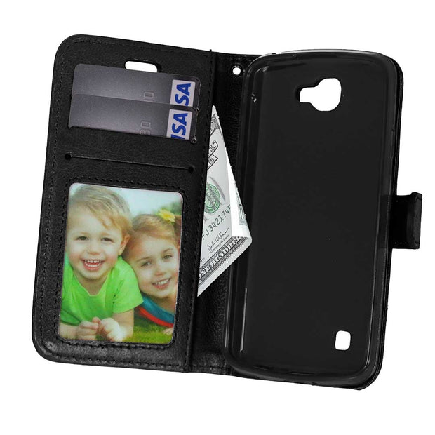 "For K 4 LG Spree K120e K130e 4.5"" Case For LG K4 LTE Optimus Zone 3 VS425 Solid Color Leather Case Photo Frame Flip Phone Cover"
