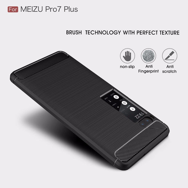 For MEIZU PRO 7 Case Luxury Ultra Thin Carbon Fiber Soft Silicone TPU Rugged Armor Shockproof Case For MEIZU PRO 7 Plus Cover