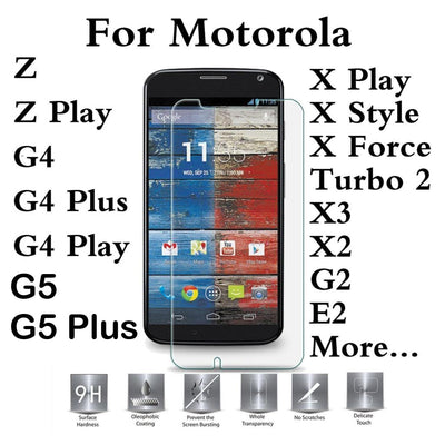 For Moto Motorola One C G6 E5 E4 G5S G4 Plus M E3 Z X Style Z2 Play Force Droid Turbo 2 G3 Tempered Glass Screen Protector Cover