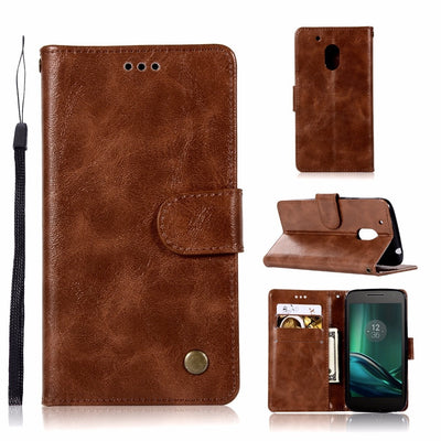 For Motorola Moto G4 G4 Plus G 4 Play PU Leather Case For Moto X4 MotoX4 Flip Wallet Stand Retro Phone Cover G4Plus G4Play Funda