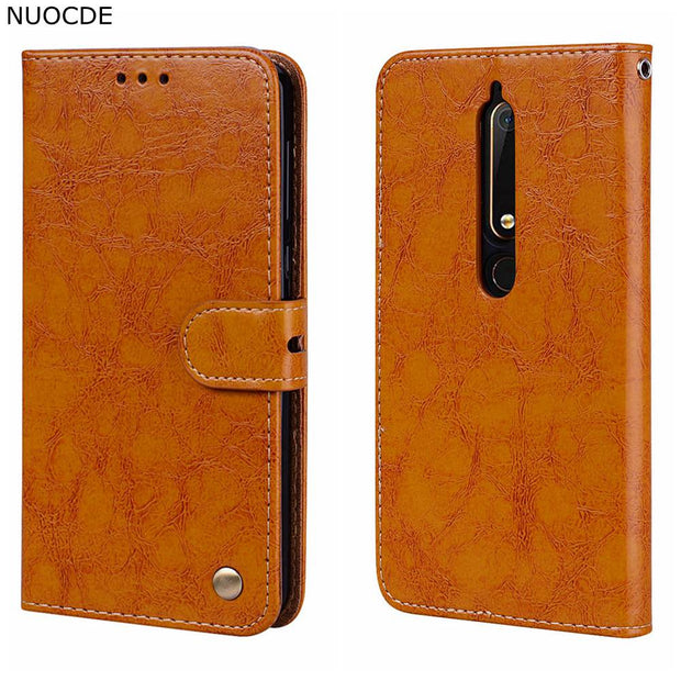 For Nokia 6 2018 Case NUOCDE Luxury Flip Wallet Retro Leather Case For Nokia 5 Nokia 3 Cover Stand Function Card Holder Hoesje