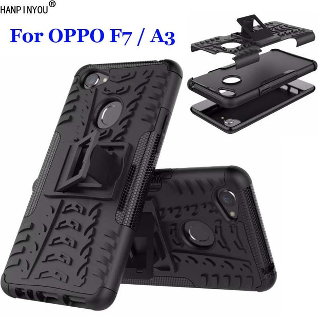 For OPPO A3 Dazzle Shockproof Soft Silicon & Hard Plastic Dual Armor Back Case Stand Holder Cover For OPPO F7 6.23""