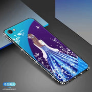 For OPPO A57 Blue Ray Mirror Glass Tpu Glitter Backless Dress Girl Secret Garden Flower Pattern Case For Oppo A57 A 57