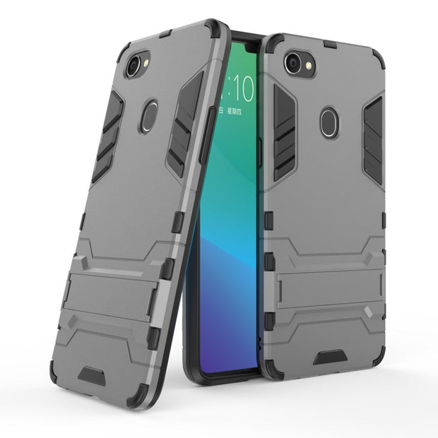 For OPPO F7 3D Combo Armor Case For OPPO F7 Shockproof Phone Back Cover Case Fundas Coque Etui>