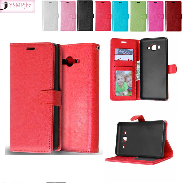 For Samsung Galaxy On7 On 7 Mega O7 G600 Solid Color Leather Case Fashion Card Slot Stand Wallet Photo Frame Flip Phone Cover