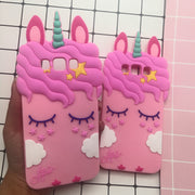 For Samsung Galaxy S6 S7 Edge Unicorn Phone Case For Galaxy S6 S7edge Cute 3d Cartoon Horse Soft Pink Cat Back Cover Girl Case