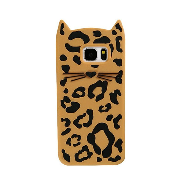 For Samsung Galaxy S7 Edge S8 Plus Beard Cat Case Fashion Leopard Pattern Silicone Shockproof Cover For Samsung Galaxy S8 Plus