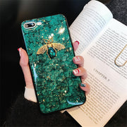For Samsung Galaxy S9 S8 PLUS S7 Edge Bee Glitter Silicone Cover Case For Samsung Note 9 8 Soft TPU Cases Bling Bee Marble Case