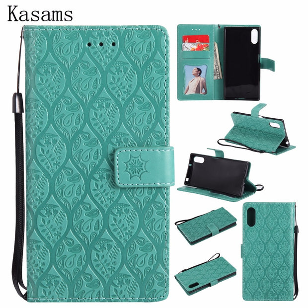 For Sony Xperia XZ XR XZS 3D Vines Emboss Phone Case For Sony XZ XR XZs PU Leather Mobile Shell Wallet Magnet Flip Stand Cover