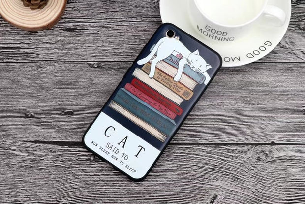 For VIVO X9 Cartoon Girl Cat Patterns 3D Relief Colorful Painting Matte TPU Soft Case For Vivo X9 Plus Phone Case Silicone Cover