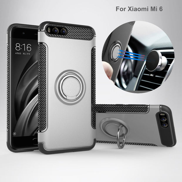 For Xiaomi Mi 6 Case Cover Silicone Hard PC Magnetic Ring Armor For Xiaomi Mi6 Case For Xiomi Mi 6 Cover For Mi 6 Coque Fundas