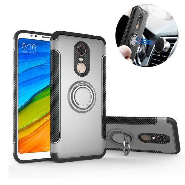 For Xiaomi Redmi 5 Plus Case Silicone Hard PC Magnetic Ring Armor Case For Xiomi Redmi 5A 5 Plus Case Cover For Xiaomi Mi A1