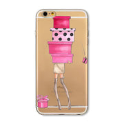 For IPhone 4 4S 5 5S SE 5c 6 6s 6Plus 6sPlus Phone Case Cover Painted Dress Shopping Girl Transparent Soft Mobile Phone Bag Capa