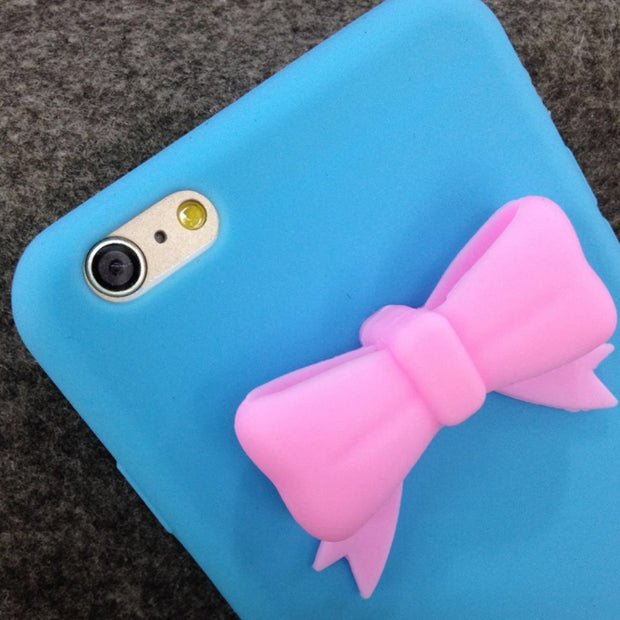 For IPhone 6/6s For IPhone 6/6s Plus Silicone Bowknot Decor Phone Protective Case Soft Back Cover