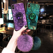 For IPhone 7 6 8 Plus Case Luxury Gold Foil Marble Cover For IPhone X XS Max XR Glitter Diamond Plush Ball Lanyard Hard Cases