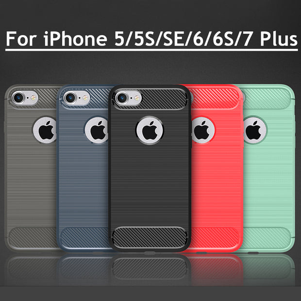 For IPhone 8 Plus Case Silicon Rubber Soft TPU Phone Back Cover For IPhone X 5 5S SE 6 6S 7 Plus Case Luxury Carbon Fiber