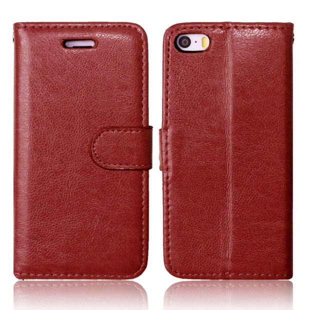 For IPhone SE 5 5S Leather Fashion Card Slot Stand Wallet Case For IPhone 5 5S Photo Frame Flip Phone Cover For IPhone 5S Cases