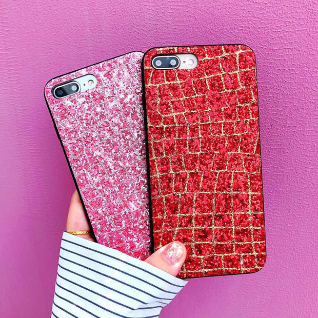 For IPhone X Diamond Bling Glitter Shining Flash Powder Silicone Soft Fitted Cases For IPhone 7 8 6 6S Plus Back Full Cover Capa