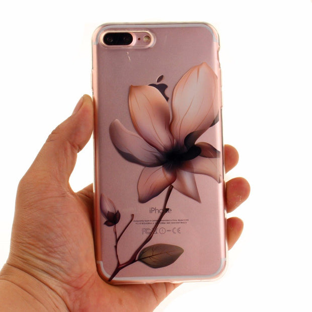 For Iphone 8 7 6 6s Plus Cartoon Love Flower Girls Case For Iphone 8 7 6 6s 5 5s SE Soft Silicon Transparent Phone Case Cover