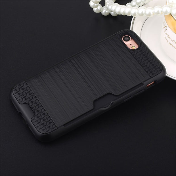 For Iphone 8 8plus Case Metalic Silicon Plastic Coque For Iphone 6s 6 7 7plus Case Hybrid Cover Card Holder Slot Phone Case