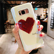 For Samsung Galaxy S7 Edge Note 9 8 S8 S9 Plus Phone Bag Case Blue Ray Relief Love Heart Pattern Soft Silicon Shell Ritozcase
