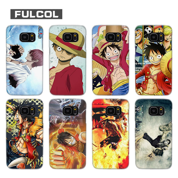 Fulcol Monkey D Luffy Transparent Fashion Hard Case Cover For Samsung Galaxy S4 S5 S6 S7 S8 S9 Mini Edge Plus