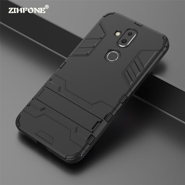 the latest 24978 cb559 Fundas Armor Case Nokia X7 Case Nokia 8.1 Shockproof Robot Silicone Rubber  Hard Back Phone Case For Nokia X7 Cover Hybrid Holder