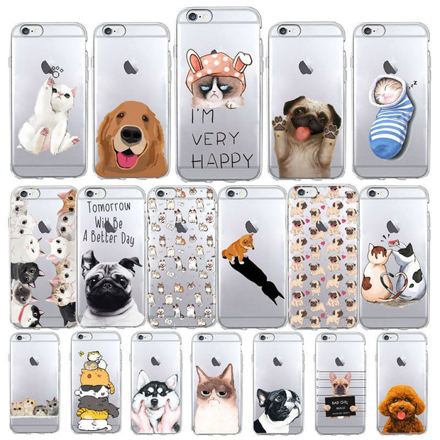Funny Cute Cat Dog Animal Phone Case For IPhone 7 Case 6 6s Se 5s 4 7 8 Plus X Soft TPU Transparent Silicone Cover For IPhone 6