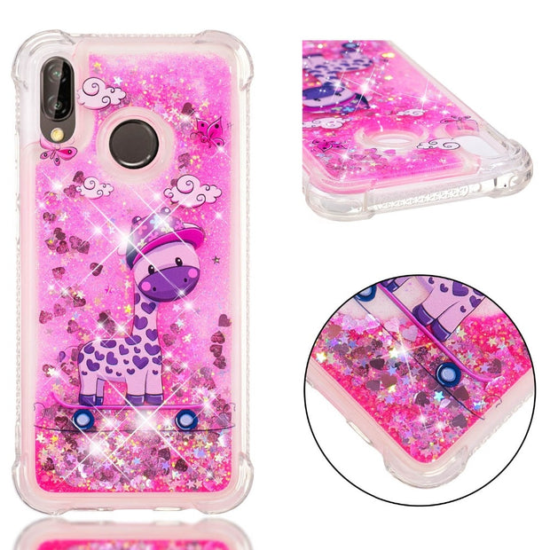 Glitter Liquid Case For Huawei P20 Case Cute Patterned Soft TPU Phone Case For Huawei P8P9 P10lite Mate10 Y5Y6Y7 Enjoy7s Honor9i