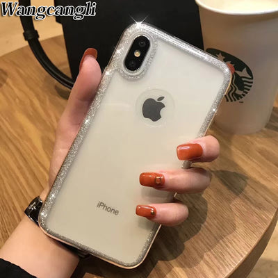 Glitter Soft TPU Phone Case For Iphone 6 6S Plus Cose For Iphone 7 7 Plus Case For Iphone 8 Plus Cose For Iphone X XS MAX XR NEW