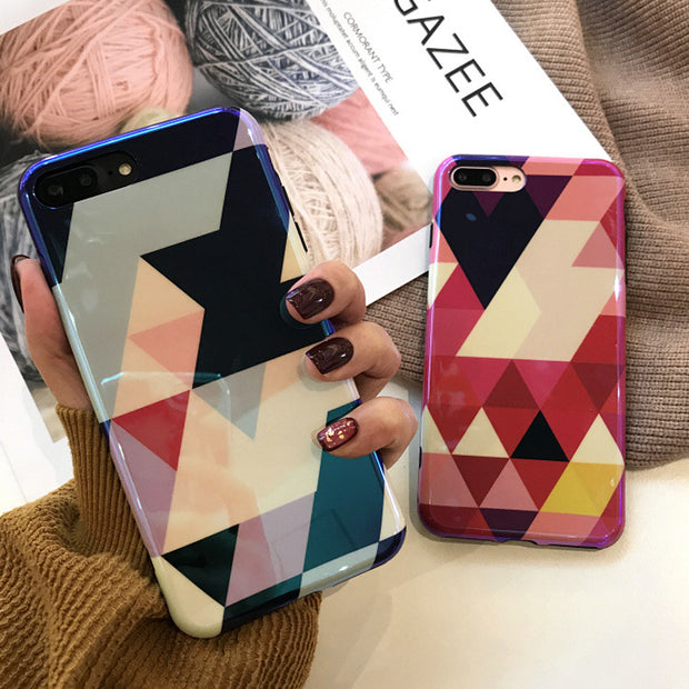 Glossy Cool Blu-ray Geometric Splice Phone Case For Iphone X 6 6S Plus 7 7Plus 8 8Plus Fashion Colorful Soft IMD Back Cover