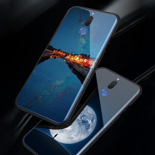 Glossy Space Planet Stars Case For Huawei Nova 2 / 2 Plus Luxury Glass Hard Back Cover For Huawei Nova 2S / 2i / 3E Cases Coque