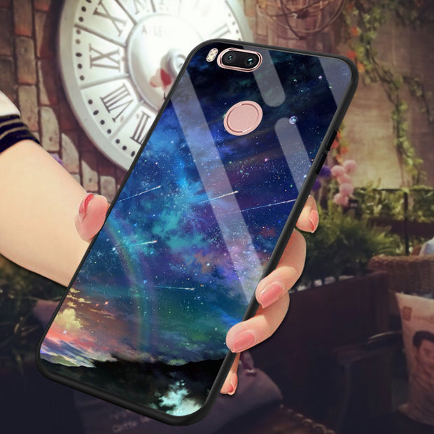 Glossy Space Planet Stars Case For Xiaomi Mi Note 3 A1 5X Mi6 Luxury Glass Back Cover For Xiaomi Mi Mix 2 Mix Evo Cases Coque