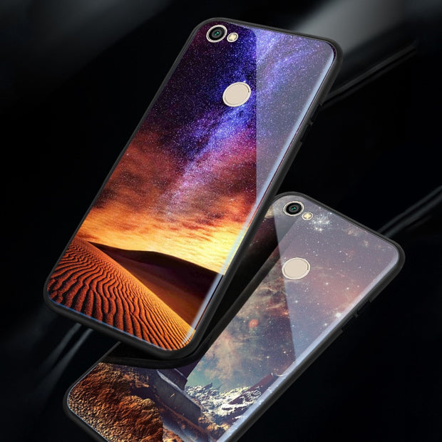 Glossy Space Planet Stars Case For Xiaomi Redmi 5 / 5 Plus 5A Luxury Glass Back Cover For Redmi Note 5A Prime / Y1 Cases Coque