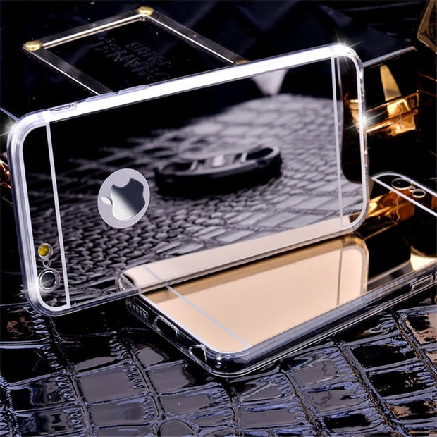Gold Luxury Plating Bing Mirror Case Cover For IPhone 5 5s SE 6 6S 6S 7 8 Plus X Transparent TPU Frame Case Coque On 5 5s 5SE