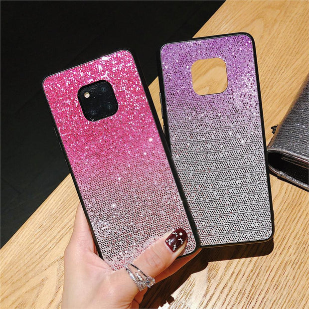 Gradient Bling Glitter Phone Case For Huawei P20 Lite P20 Pro P10 Plus Mate 10 Lite Mate 20 Pro Honor 9 10 Rainbow Shinning Case