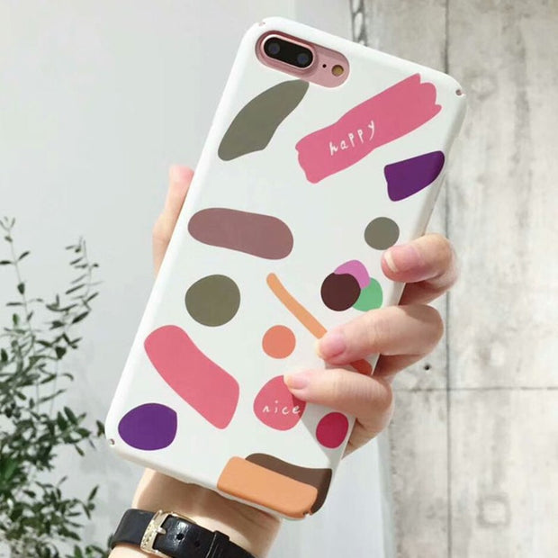 Hard PC Coque For Iphone 6 6S 7 8 Fitted Cases Colorful Geometric Patterned Cases For Iphhone X 7 8 6 6S Plus Back Cover Fundas