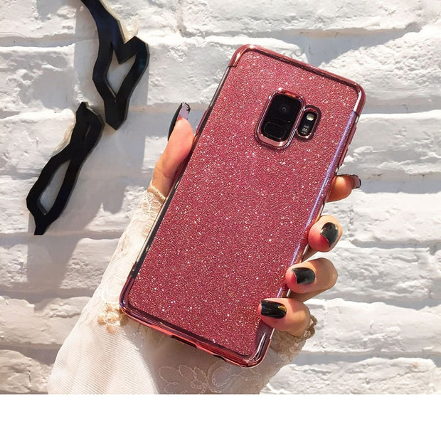 HereCase Glitter Bling Soft TPU Phone Cases For Samsung Note 9 8 S9 S8 Laser Case Shell For Galaxy S7 Edge Plus Plating Cover
