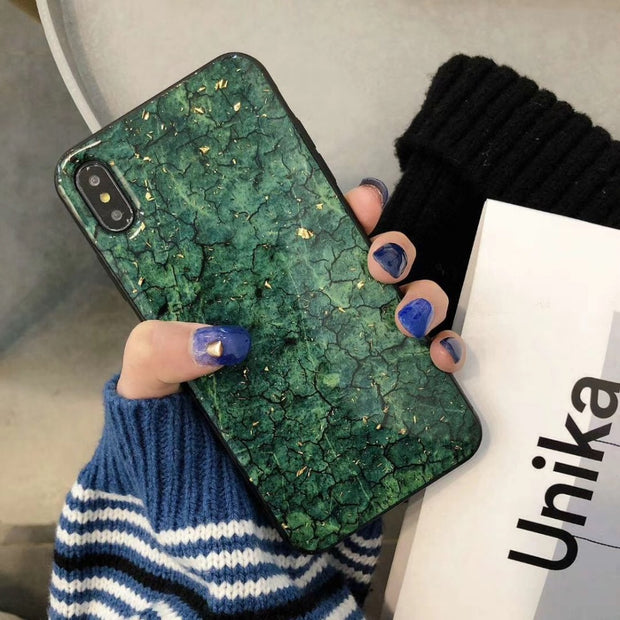 HereCase Glitter Gold Foil Marble Soft Silicon TPU Case For IPHONE 6 7 8 PLUS S Back Cover For IPhone X XS XR XMAX Phone Case