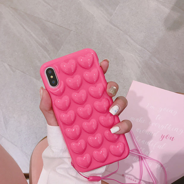 Heyytle Love Heart Candy Color Phone Case For IPhone X 8 7 6S 6 Plus Cute Soft TPU Silicon Back Cover Cases With Lanyard