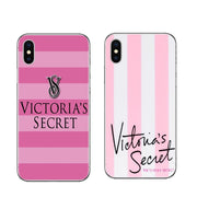 Hot Fashion Pink Color Victoria Secret Case For IPhone 5 5S 6 6s Plus 7 8 Plus X Clear Soft TPU Silicon Stripe Phone Cover Coque