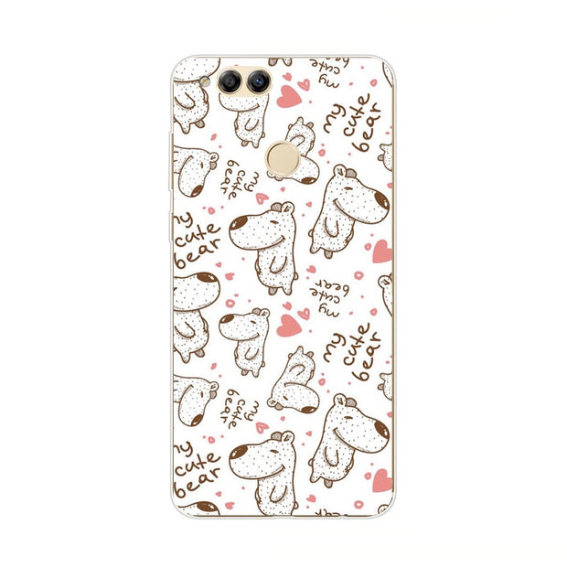 Huawei Honor 7x Case,Silicon Colorful Images Painting Soft TPU Back Cover For Huawei Honor 7x Phone Protect Case Shell