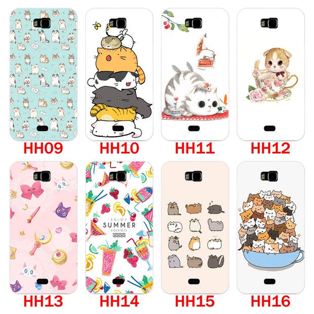 Huawei Y5c Y541 Case,Silicon Look Cat Painting Soft TPU Back Cover For Huawei Y541-u02 Phone Protect Bags Shell