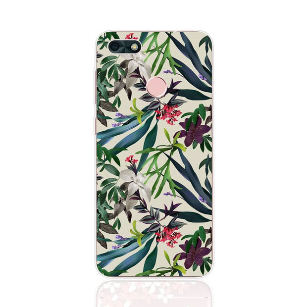 Huawei Y6 Pro 2017 Case,Silicon Flowers Plant Painting Soft TPU Back Cover For Huawei Y6 Pro 2017 Phone Fitted Case Shell