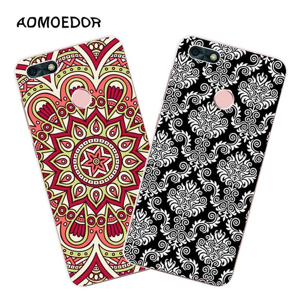 Huawei Y6 Pro 2017 Case,Silicon Mandala Cartoon Painting Soft TPU Back Cover For Huawei Y6 Pro 2017 Phone Fitted Case Shell