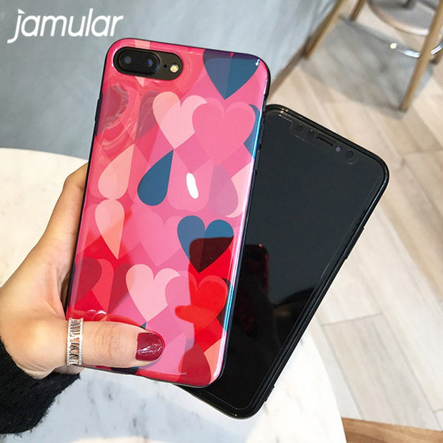 JAMULAR Blue Light Phone Case For IPhone X 8 7 6 6s Plus Colorful Heart Print Soft TPU Back Cover For Iphone 7 6 6s Fashion Capa