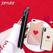 JAMULAR Cute Cartoon Blu Ray Couple Case For Iphone X 7 8 6 6s Plus Soft TPU Phone Cover For IPhone 7 6 6s Letter BE LOVED Capa