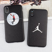 JAMULAR Fly Man Jordan Magnetic Case For IPhone 6 6s X 7 8 Plus Silk Soft Back Cover For IPhone 8 Car Phone Holder Magnet Coque