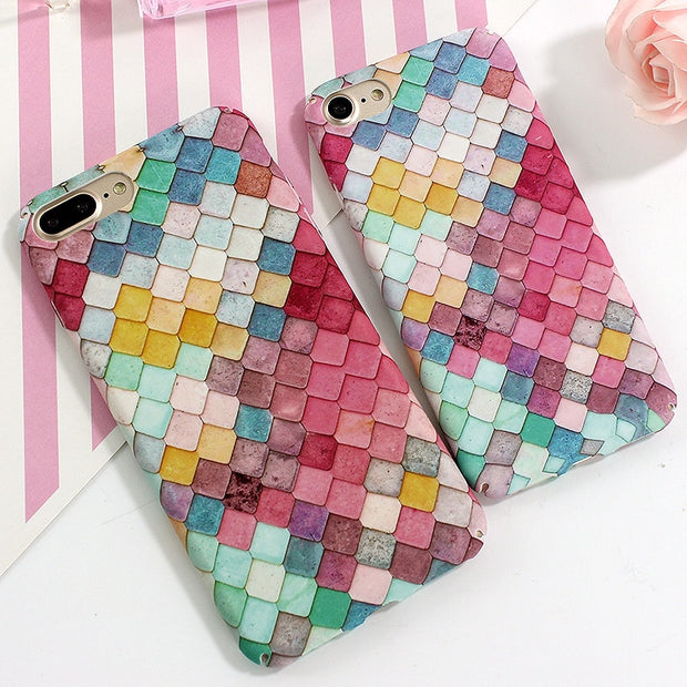 JAMULAR For IPhone 7 Case Fashion Colorful Scales Phone Cases For IPhone 8 7 6s Plus Case Mermaid Back Cover Hard Slim Coque