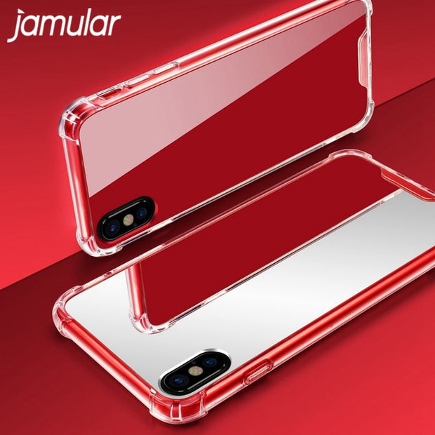 JAMULAR Girly Mirror Case For IPhone 7 8 X 6 6S Plus Soft TPU Shockproof Phone Cover For IPhone X 8 8 Plus Clear Makeup Fundas